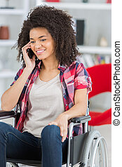 年輕, 輪椅, 電話, 婦女, 做, 愉快, 無能力