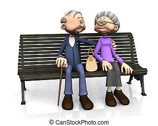 年長的夫婦, 卡通, bench.