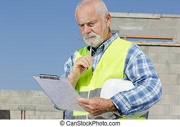 年長者, 剪貼板, 工程師, 建造者, 站點, 檢查, 建設