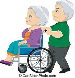 年長者, 夫人, 輪椅, 老, 夫婦