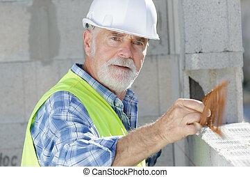 年長者, 建築工地, 工作