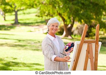 年長者, 畫, 婦女, 公園