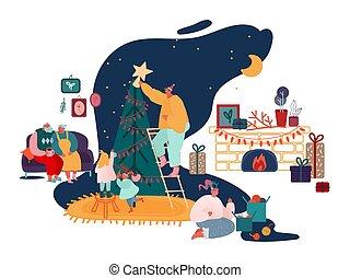 年, 聖誕節, 家庭, 歡樂, 壁爐, 父母, 集合, 聖誕節禮物, 季節, 裝飾, scenes., 頌歌, 唱歌, 孩子, 插圖, 新, 矢量, 冬天, 包裝, 樹, 慶祝