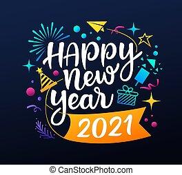 年, 設計, 背景, 圖象, 鮮艷, 消息, 愉快, 黑色, 2021, 新