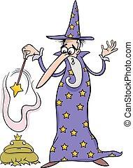 幻想, 巫術師, 卡通, 插圖