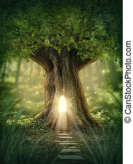 幻想, 房子, 樹