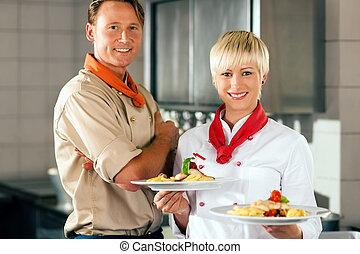 廚師, 旅館, 或者, 廚房, 餐館