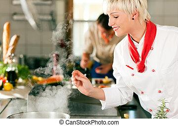 廚師, 旅館, 或者, 餐館