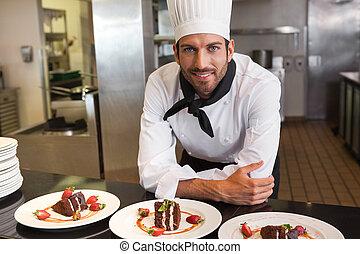 廚師, 點心, 後面, 看, 照像機, 計數器, 愉快