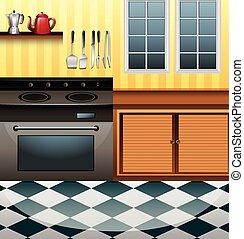 廚房, 微波, 計數器
