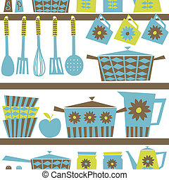 廚房, 背景, retro