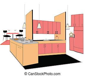 廚房, interio, retro