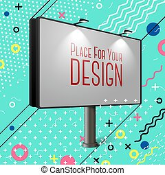 廣告欄, 明亮, 矢量, 摘要, 風格, 孟菲斯, eps