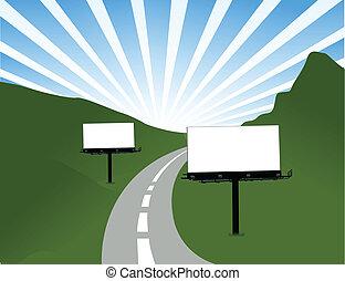 廣告欄, 設計, 路, 插圖