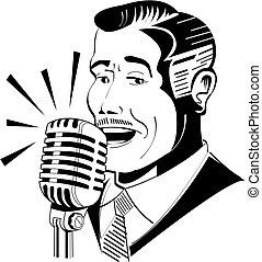 廣播員, 話筒, 收音机