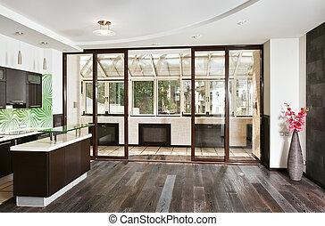 廣角, 房間, 木制, 現代, 地板, 廚房, (studio), 黑暗的內部, 前面, 陽台, 圖畫, 看法