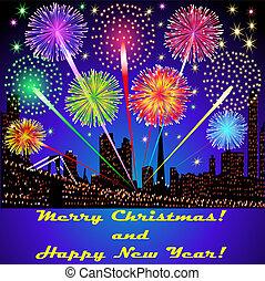 建筑物, 喜慶, 煙火, 插圖, 外面, 上面, 聖誕節