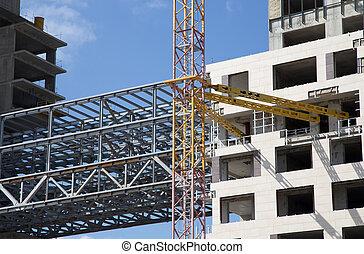 建筑物, 工業, 居住, 圖像, 多層, 站點。, 建設, -construction