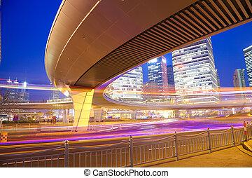 建筑物, 形跡, 橋梁, 上海, 汽車光, 城市, 現代, 高速公路