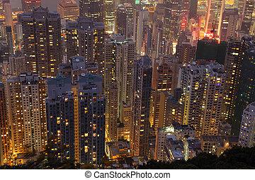 建筑物, highrise, 空中, 在上方, 夜晚, 看法