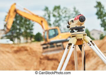 建築器材, 在戶外, 測量員, 站點, 水平