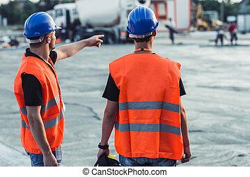 建築工地, 指, 工人