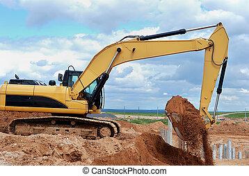 建築工地, 挖掘機, loader