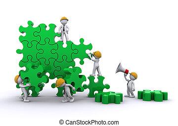 建築物, 事務, concept., 工作, puzzle., 隊, buuilding