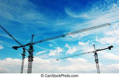 建築物, 元素, 設備, 建設, 傍晚, 在下面