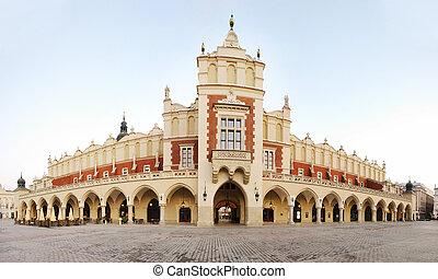 建築物, 克拉科夫, sukiennice, 波蘭, 陌生, 遠景