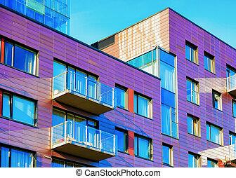 建築物, 公寓, 現代, 豪華, 外部