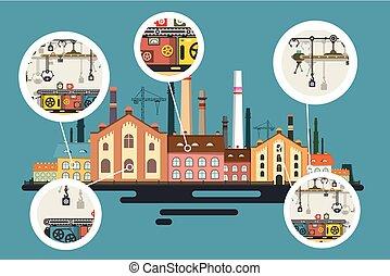 建築物, 套間, 工業, 老, 工廠, 矢量, 生產, 設計, stacks., 線, 氣泡, 煙囪