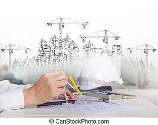 建築物, 工作, 多用途, 素描, 建設, 建築師, talbe