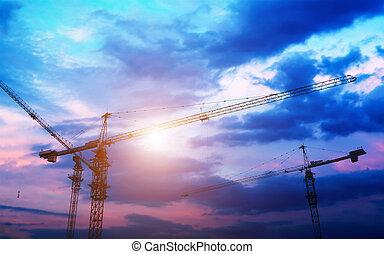 建築物, 工業的起重机, 太陽, 在上方, sunrise., 黑色半面畫像, 建設