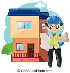 建築物, 房子, 工作, 工程師
