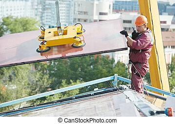建築物, 玻璃, 工人, 窗口, 安裝