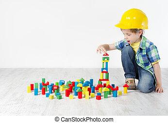 建築物, 男孩, 概念, city., 努力, 建設, 發展, blocks:, 帽子, 玩