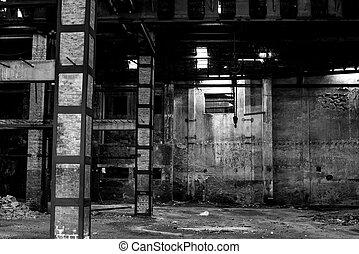 建築物, 老, 被放棄, 失修, 倉庫, 內部