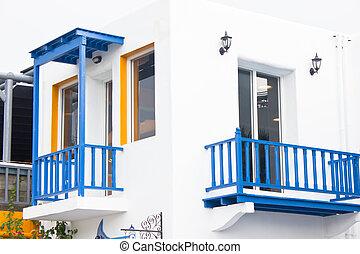 建築物, 藍色, 地中海, 白色, style., 陽台