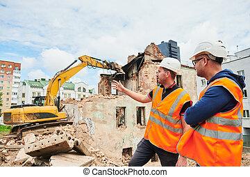 建築物, 討論, 建設, 領班, 工人, 站點。