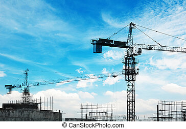 建築物, 起重機, 塔, 二, 摩天樓