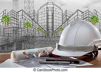 建築物, 鋼盔, 安全, 場景, pland, 木頭, 建築師, 文件, 桌子, 建設, 傍晚