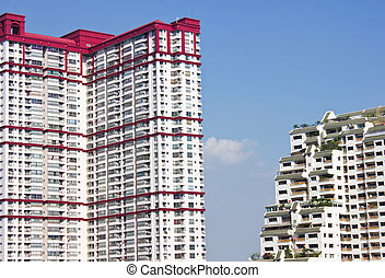 建築物, 高, 模仿, space., 公寓