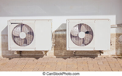 建築物, condensers, wall., 外面, 骯髒, 空氣, 條件