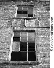建築物, windows, 工業, 被放棄, 打破