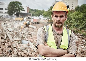 建築物, work., 工人, 站點, 建設, 爆破