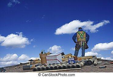 建設工人, 屋面工
