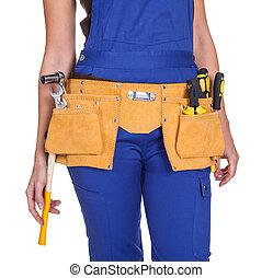 建設工人, toolbelt, 女性