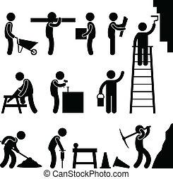 建設, 堅苦的工作, 勞動