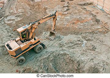 建設, 工作, 挖掘機, 站點